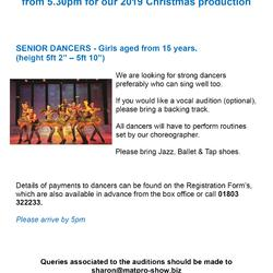 AUDITIONS for Senior Dancers - Christmas Show 2019